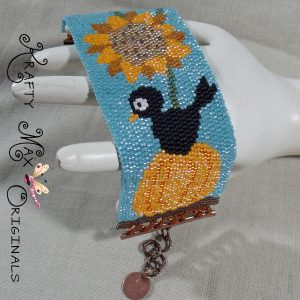 Pumpkin with Black Bird and Sunflower – Handmade Beadwoven Bracelet