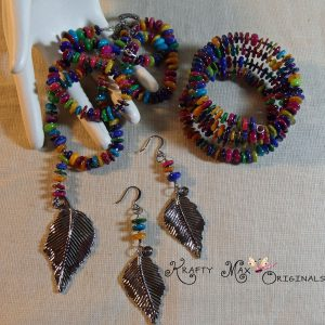 A Rainbow of Color Among the Leaves Necklace Set