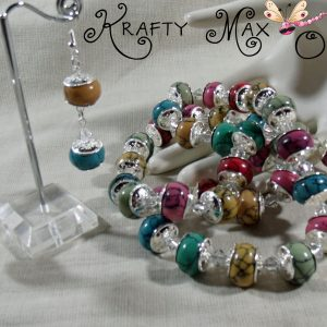 Rainbow Colored Magnesite and Silver Plated Findings Necklace Set