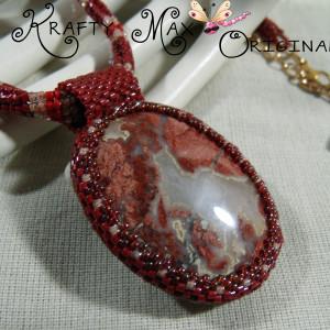 Red Velvet and Cream Handmade Beadwoven Necklace Set