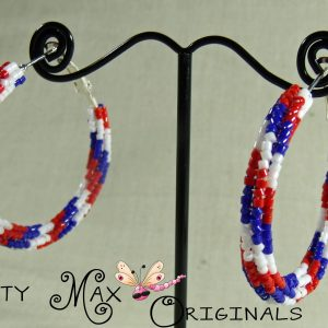 Red White and Blue Beadwoven Stainless Steel Hoops