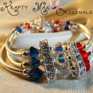 Red White and Blue Swarovski Bracelet for Creations Color Challenge