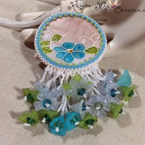 Blue and Green Beadwoven Necklace with Flowers and Earrings