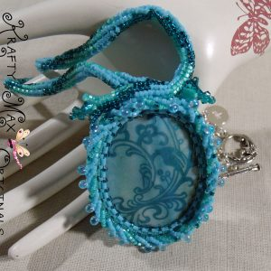 Handmade Teal Beadwoven Shell Necklace