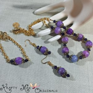 Purple Dyed Jade with Gold Plated Handmade Chain – 3 Piece Necklace Set