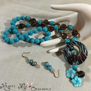 Teal, Antique Gold and Flowers are Wonderful Matches – Necklace Set