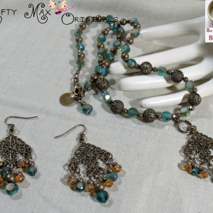 8th Bead Soup Blog Party – Teal Fan Dangle Necklace and Earrings