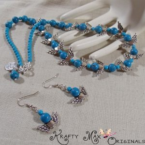 Turquoise and Angel Wings Make this Necklace and Earrings Set Perfect