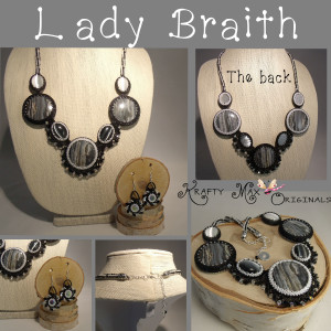 Lady Briath – Black and White Reverable Gemstone Beadwoven Necklace Set