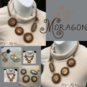 Lady Moragon – Red Creek Jasper and Swarovski Crystal Beadwoven Necklace