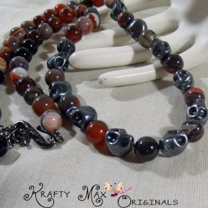 Sunset and Skulls! Gemstone and Hematite Necklace and Earrings Set