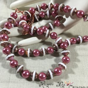 Vintage Looking Soft Mauve/Pink and Glass Pearls Copper Necklace Set