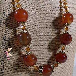 Glowing Amber Delight with Swarovski Crystal Necklace and Earrings Set