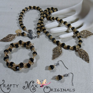 Black and Gold Plated Leaves are Creative and Fun-3 Piece Necklace Set