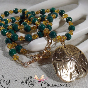 Green and Gold Sand Dollar Swarovski and Gemstone Set – Grandmas Stash