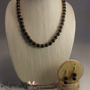 Black Onyx and Hint of Multi Colors Necklace Set