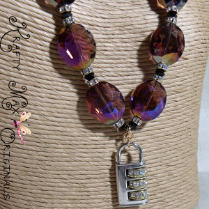 Purple Glass, Czech Crystal and a Beautiful LOCK Necklace Set