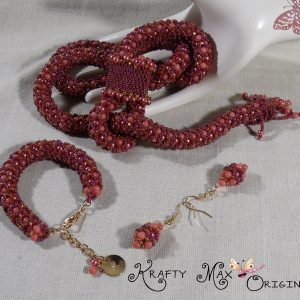 Red Coral Mountain Jade and Glass Pearl HandBeaded Lariat Necklace Set