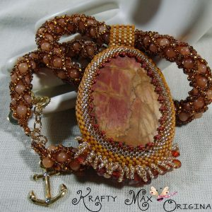 Sunset in Fall Maple Leaf Turning Colors Handmade Beadwoven Necklace
