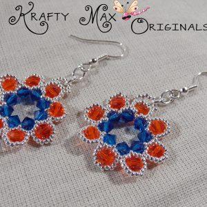 Beadwoven Florida Gator Orange Blue Swarovski Crystal Wreath Earrings