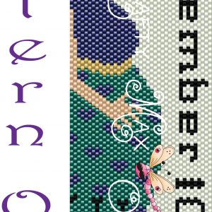 Pregnant Lady with Cat with Date Colored Beadwoven Bracelet PATTERN ONLY