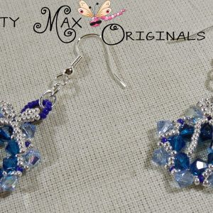 Beadwoven Blue Swarovski Crystal Wreath Earrings
