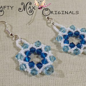 Beadwoven Blue with Dangle Swarovski Crystal Wreath Earrings