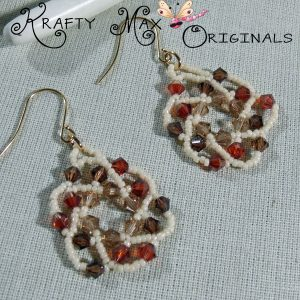 Handmade Swarovski Crystal Earthy Tones Beadwoven Earrings