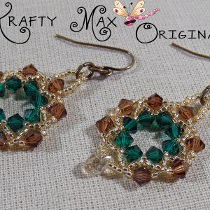 Brown and Green Swarovski Crystal Wreath Earrings Beadwoven