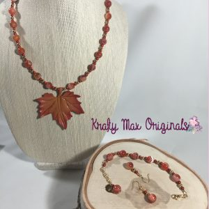 Leather Leaf and Beautiful Fall Colors 3 Piece Necklace Set
