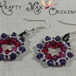 Beadwoven Purple and Pink Swarovski Crystal Wreath Earrings