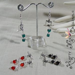 3 Swarovski Crystal, Silver Plated, Changeable Earrings Set