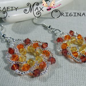 Handmade Swarovski Crystal Sunset Beadwoven Earrings