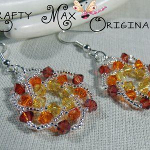 Handmade Swarovski Crystal Sunset Beadwoven Earrings