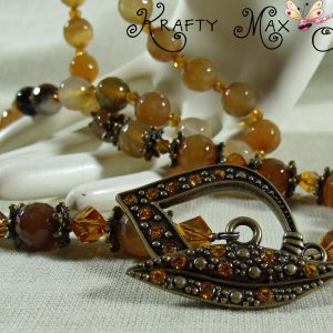 Yellow Quartz and Topaz Helix Swarovski Crystal Necklace Set
