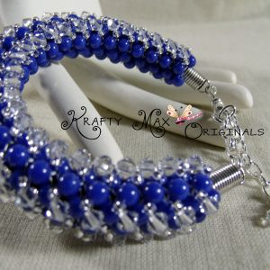 Blue Dyed Jade and Swarovski Crystal Beadwoven Bracelet