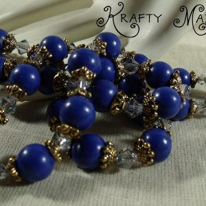 Blue Dyed Jade, Swarovski Crystals and Gold Plated Findings Set