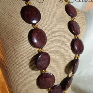 Red Sesame Jasper and Gold Necklace Set