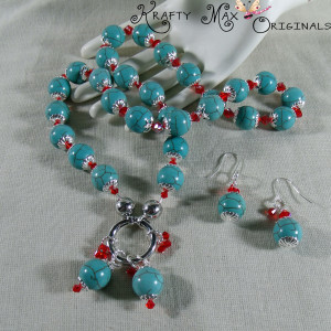 Turquoise and Red Swarovski Crystal Necklace Set
