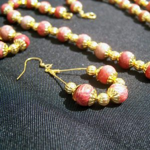 Apple Red Coral and Gold Plated Beads Set