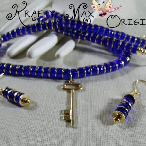 Blue and Gold Key Necklace Set – Creations Color Challenge