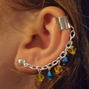 Blue and Yellow Swarovski Crystal Dangling Sterling Silver Ear Cuff