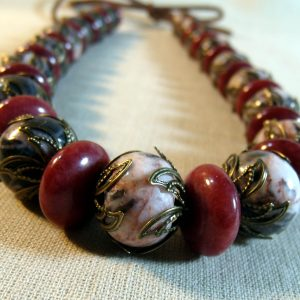Burgundy Quartz and Redline Marble CHUNKY Necklace Set