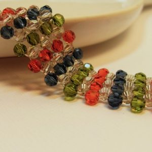 Fall Elegance in Simple Silk Beadwoven Swarovski Crystal Bracelet