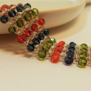 Fall Elegance in Simple Silk Beadwoven Swarovski Crystal Bracelet