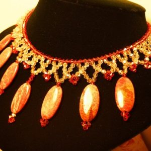 Golden Shadows of Burnt Amber Beadwoven Necklace