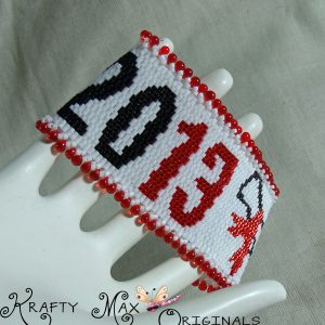 2013 Beadwoven Graduation Bracelet in Red, Black and White
