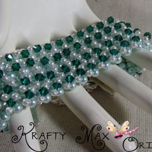 Green and White Beadwoven Bracelet – Creations Color Challenge