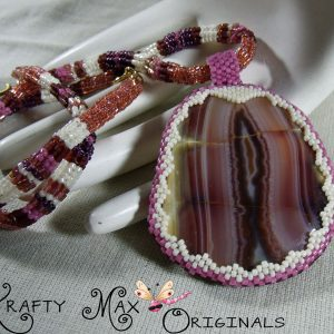 Mauve and Ivory Beauty Beadwoven Necklace – Krafty Max Original Design