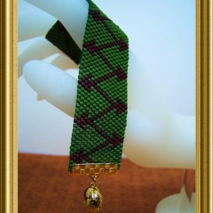 Mixed Directions – Green and Brown Beadwoven Bracelet